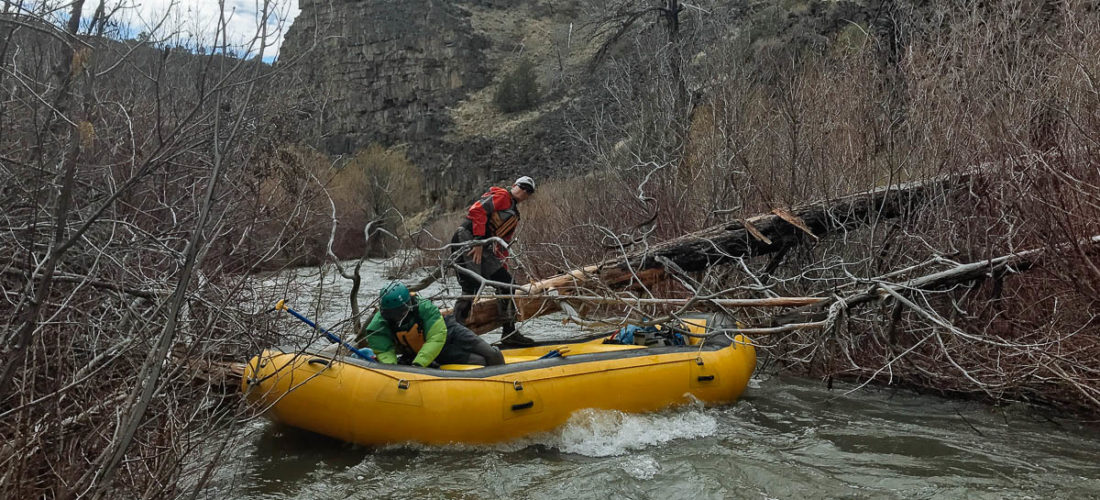Pulling out the saw to cut some branches on the North Fork of the Owyhee