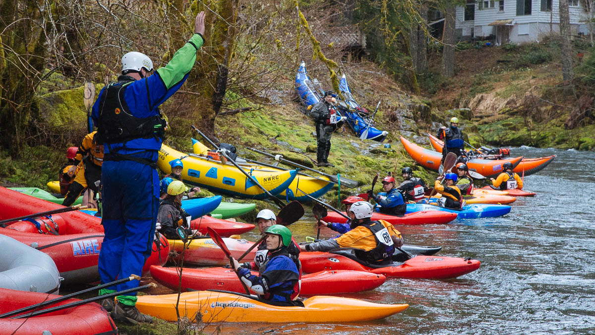 Kayak starting line at the Upper Wind Whitewater Festival