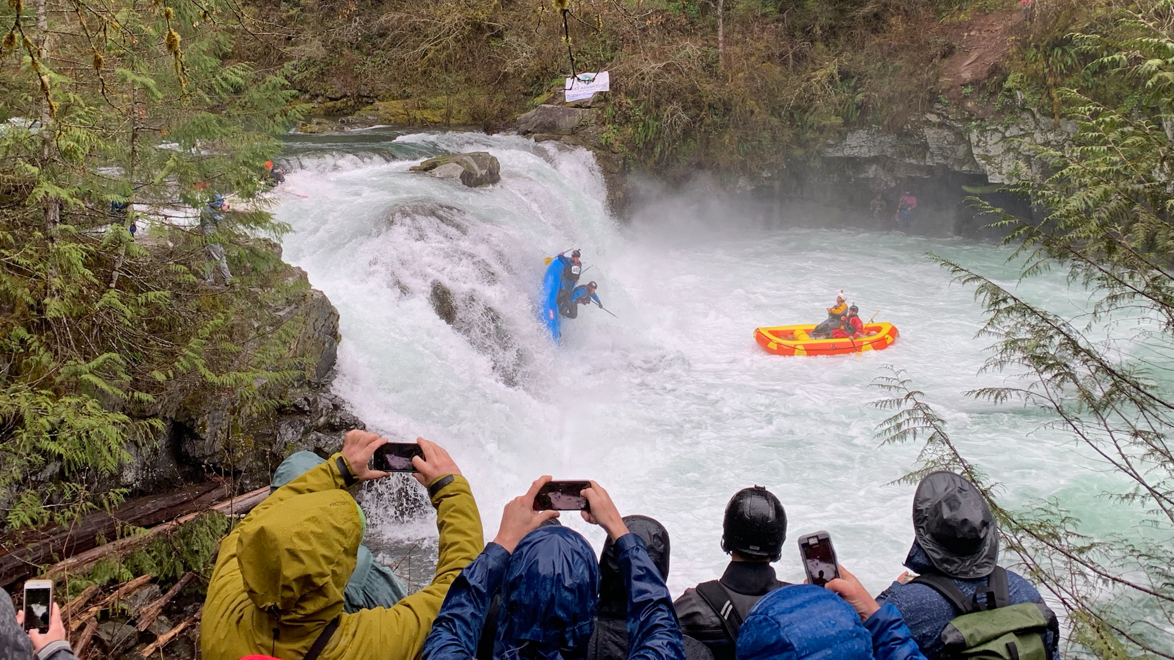 Raft Flip at the Northwest Creeking Competition