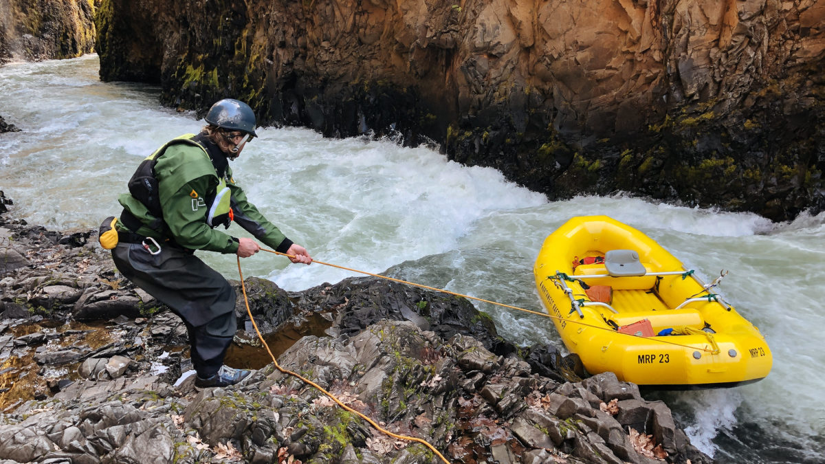 Lining a raft on the White Salmon River
